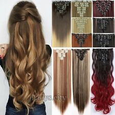 "Long 18""24""26"" Full Head Clip In Hair Extensions Human Long Curly Straight TB9"