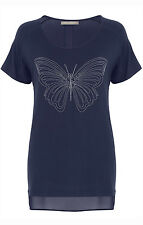 Ann Harvey Womens Navy Butterfly Detail Top - Up To Size 28