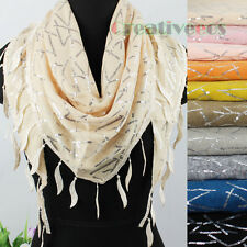 Stylish Gorgeous Shining Sequins Lace Trim Tassel Triangle Scarf Shawl Wrap New