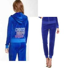 Juicy Couture Choose Velour Hoodie Jacket Pants Blue Ribbon Tracksuit Track XL