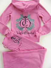 Juicy Couture Pink Tracksuit Jacket Hoodie Pants Medium M Terry