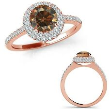 0.75 Ct Champagne Diamond Double Halo Fancy Eternity Wedding Ring 14K Rose Gold