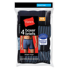Hanes Men's Ringer Boxer Brief with Comfort Flex Waistband 4-Pack NWT 7347P4