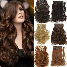 """Premium Clip In Hair Extensions Curly/Wavy Full Head Hair Extentions 17""""24"""" Fk6"""