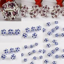 Wholesale Rhinestone Crystal  European Spacer Beads Findings Fit Charm Bracelet