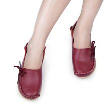 Women Casual Leather Slip on Loafers Moccasin Flats Boat Oxfords Shoes SUK