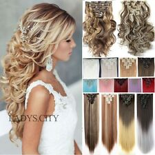 100% Real Natural Clip in Hair Extensions 18 clips On Hair Extension Brown F3d