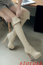 Women Lady High Block Heel Over Knee High Boots Shoes Strench Silm Leg Shoes NEW