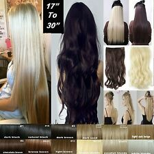 New Clip in on Hair Extensions Real 100% Natural Straight Wavy Hair Extension nt