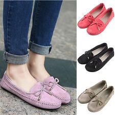 Fashion Women's Suede Loafers Bowknot  Flat Heels Casual Slip On Oxfords Shoes
