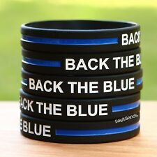Ten (10) BACK THE BLUE Thin Blue Line Wristbands - Show Police Support