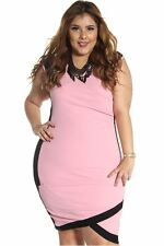 121AVENUE Sexy Alluring V-Neck Dress 1X 2X 3X Women Plus Size Pink Cocktail