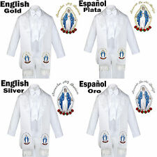 6pc Baptism White Tuxedo Suit English Spanish Colored Silver Gold Maria Stole
