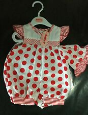 2 piece Baby Girl White with Red Spot Cotton Romper Suit with matching Hat