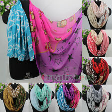 New Fashion Owl&Stars&Peace Sign Logo Print Long Scarf/2Loop Infinity Soft Scarf