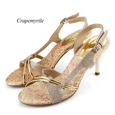 Women Glitter Stiletto High Heels Strappy Sandals Pump Peep Toe Cuff Shoes SAU