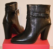 New $350 kate spade Mannie Black Grainy Nappe Leather Bow Short Ankle Boots
