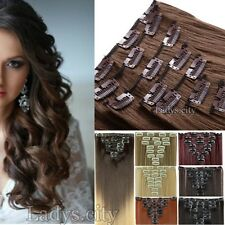 100% Natural New Thick 8 PIECES Clip In On Hair Extensions Long As Huma Hair Ted