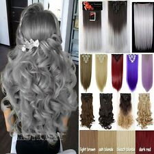 """18-28"""" Full head clip in Hair Extensions Curly Thick New Straight as Human FSS"""