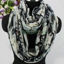 Elegant Fashion Women's Palm Tree Leaves Print Long Scarf/Infinity Cowl Scarf