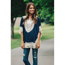 Summer Women Casual Loose Batwing Short Sleeve Crochet Shirt Blouse One Size Top