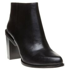 New Womens DKNY Black Pine Leather Boots Ankle Zip