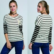 Women Cotton Striped V Neck T Shirt Casual Long Sleeve Loose Blouse Tops Tee