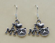 CAT charm earrings 925 silver hook with free 12 clear stoppers Cat Lover Gift