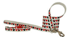 red black & white minnie & micky hearts chihuahua dog puppy collar & lead 3 size