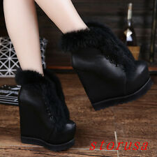 Women Lady High Wedge Heel Platform Ankle Boots Shoes Fur Trim Snow Boots Size