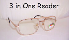 No Line Progressive Lens Aviator Spring Hinge Reading Glasses  '3 in One Reader'