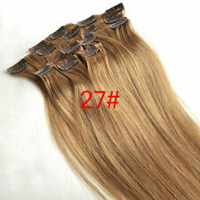 8pcs Hairpiece Clip In 100%Real Human Hair Extension Honey Blonde Full Head 150g