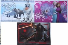 "DISNEY FROZEN & STAR WARS TABLE PLACEMATS 12""x18"" SELECT: Theme & 1 or 4 Ct/Pk"
