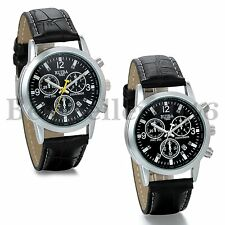Fashion Mens Analog Watches Leather Band Quartz Wrist Watch Black Silver Tone