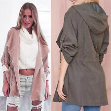 Womens Warm Fashion Hooded Long Coat Jacket Windbreaker Trench Parka Outwear NEW