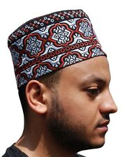 Tall Omani Arab Style African Kufi Hat Black Base Red and Silver Embroidery