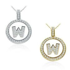 """Alphabet Letter """" W """" Round Disc Initial Pendant With 18"""" Chain 14K Yellow Gold"""