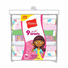 Hanes Girls' No Ride Up Cotton Colored Briefs 9-Pack NWT P913BR