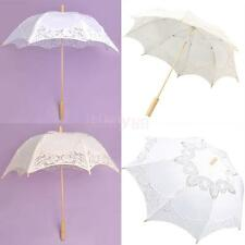 White Beige Battenburg Cotton Flower Girl Parasol Women Bridal Sun Umbrella