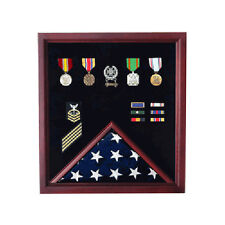 Military Flag and Medal Display Case,Shadow Box Hand Made By Veterans