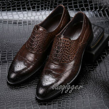 MENS LEATHER FORMAL DRESS SHOES LACE-UP WEDDING BUNISENESS OXFORDS BROGUE SHOES