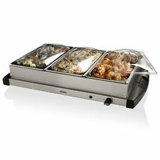 Oster Triple Buffet Server Warming Tray Stainless Steel Dishwasher Safe New