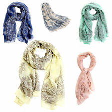 Womens Candy Pure Colour Soft Long Voile Crinkle Wrap Shawl Scarf Stole C1