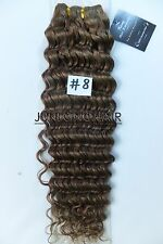 100g 150g 16''~26'' Curly Wavy 100%Real Human Hair Extensions Deep Weft Hair #8