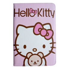 Adorable 3D Kitty Cartoon Stand Leather Case Cover For Apple iPad 2 3 4 Air Mini
