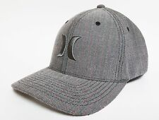 HURLEY COASTAL Hat FLEXFIT Grey ($28) NEW Cap Skate Surf CLASSIC ONE ONLY Woven