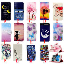 Card Holder Magnetic Painted Flip Wallet Leather Stand Case Cover For phone