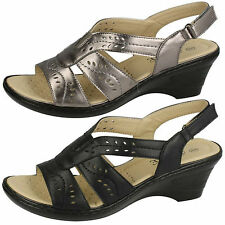 Ladies Eaze F3107 Black Or Pewter Synthetic Wedge Sandals