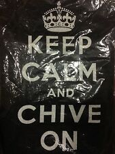 "NEW Authentic Women's ""Keep Calm and Chive On"" Black T-Shirt S M L KCCO Small"