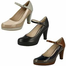 LADIES CLARKS KENDRA DIME PLATFORM BUCKLE MARY JANE HEELED COURT SHOES